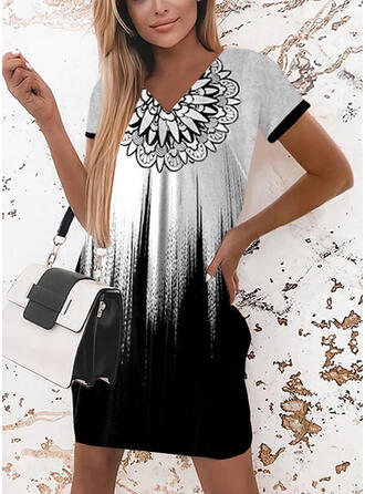 Print/Gradient Short Sleeves Shift Above Knee Casual T-shirt Dresses