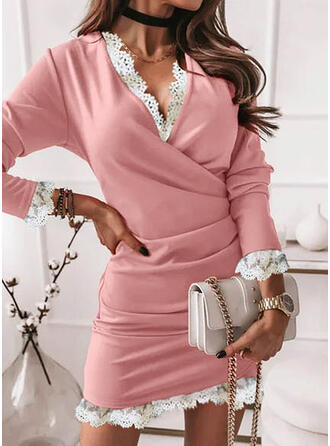 Solid Lace Long Sleeves Bodycon Above Knee Elegant Dresses