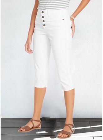 Solid Capris Casual Plus Size Office/Business Pocket Button Pants