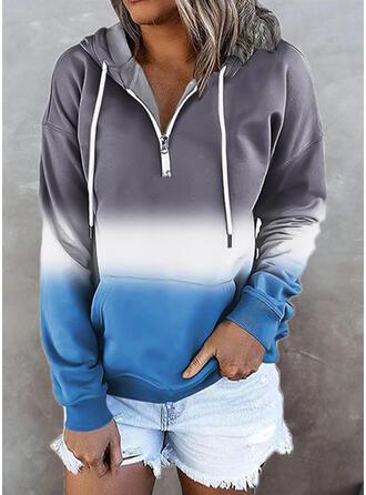 Bloc de Couleur Capuche Manches Longues Sweat-shirt