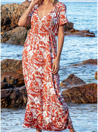 Print/Floral/Backless Short Sleeves A-line Skater Casual/Vacation Maxi Dresses