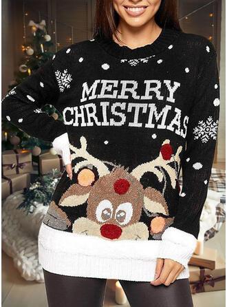 Mulheres Estampado Rena Carta Camisola de Natal Feio