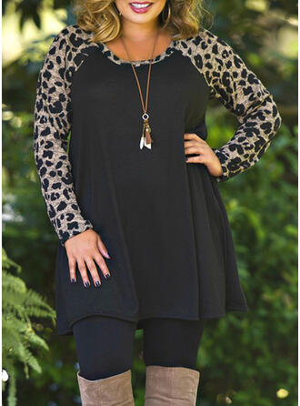 Plus Size Leopard Long Sleeves Shift Above Knee Casual Dress