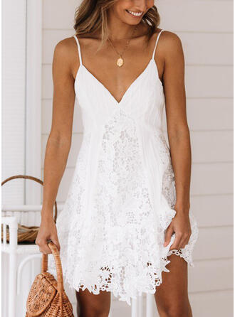 Lace/Solid Sleeveless A-line Above Knee Sexy/Casual/Vacation Slip/Skater Dresses