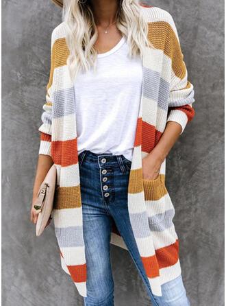 Color Block Pocket Casual Long Cardigan
