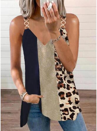 Color Block Leopard Print Spaghetti Straps Sleeveless Tank Tops