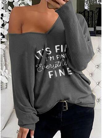 Print Letter V-Neck Long Sleeves T-shirts