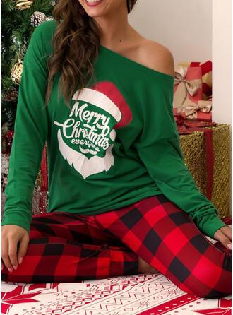 Polyester Long Sleeves Christmas Grid Santa Pyjama Set