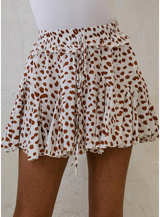 Cotton Blends Print Floral Above Knee A-Line Skirts