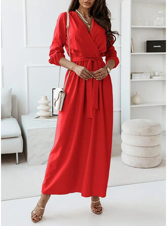 Solid Long Sleeves A-line Wrap/Skater Casual Maxi Dresses