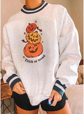 halloween Impresión Cuello Redondo Manga Larga Sudadera