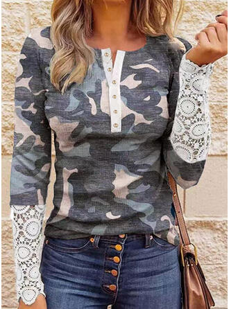 Camouflage Lace Round Neck Long Sleeves Casual Blouses