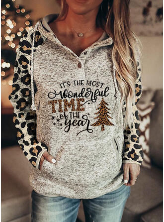 Christmas Print Leopard Letter Hooded Long Sleeves Christmas Sweatshirt