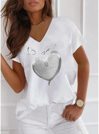Corazón Impresión Carta Cuello en V Manga Corta Camisetas