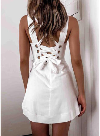 Solid Sleeveless A-line Above Knee Little Black/Sexy/Casual/Vacation Skater Dresses