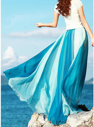 Chiffon Color Block Maxi A-Line Skirts