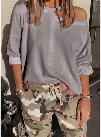 Solid One Shoulder 3/4 Sleeves T-shirts