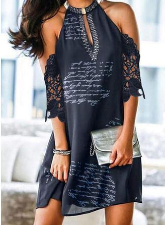 Lace/Print 1/2 Sleeves Shift Above Knee Elegant Tunic Dresses