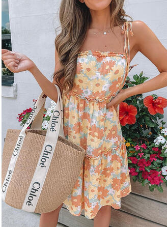 Floral Sleeveless A-line Above Knee Cute Dresses