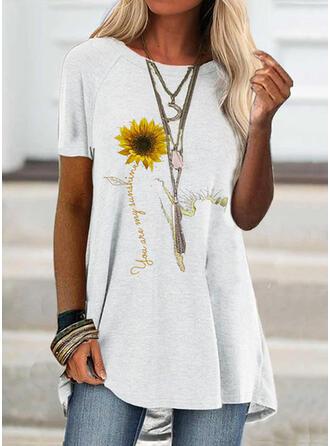 Sunflower Print Round Neck Short Sleeves T-shirts
