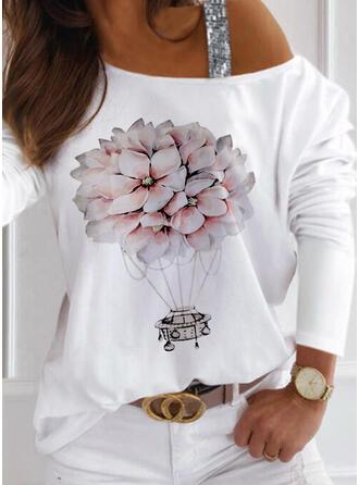 Fleurie Imprimé Paillettes Décolleté Asymétrique Manches Longues T-shirts