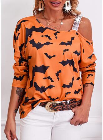 Halloween Print Animal One Shoulder Long Sleeves Casual Blouses