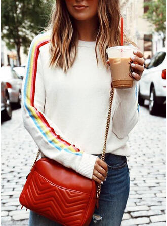 Print Striped Round Neck Casual Sweaters