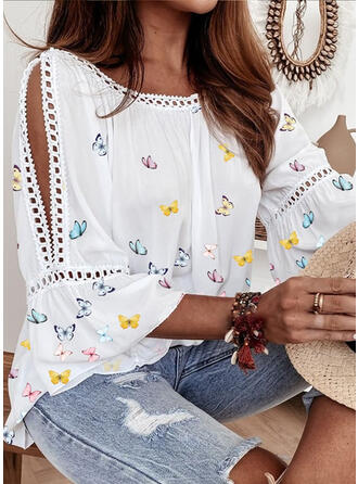 Butterfly Crew Neck 3/4 Sleeves Flare Sleeve Casual Elegant Blouses