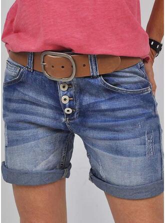 Sólido Jean Acima do joelho Casual Vintage Tamanho positivo Bolso shirred Button Calças Calção Jeans