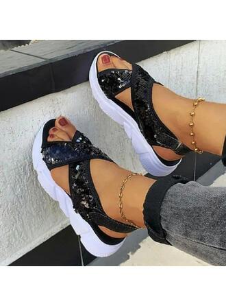 Femmes Cuir en microfibre Talon plat Sandales Plateforme À bout ouvert avec Paillette Velcro Couleur unie chaussures