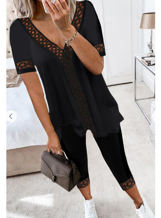 Solid Casual Plus Size Blouse & Two-Piece Outfits Set
