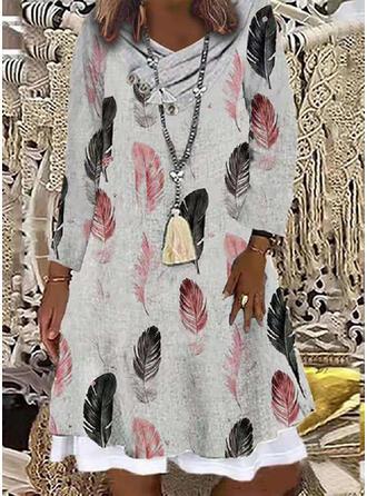 Impresión Manga Larga Vestidos sueltos Sobre la Rodilla Casual Túnica Vestidos