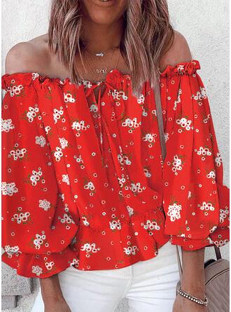 Print Floral Off the Shoulder 3/4 Sleeves Dropped Shoulder Elegant Blouses