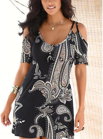 Print Short Sleeves Shift Above Knee Casual/Boho/Vacation T-shirt Dresses
