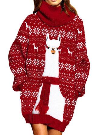 Animal Print Turtleneck Casual Long Christmas Sweater Dress