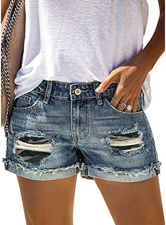 Camouflage Coton Décontractée Ancien Poche déchiré Boutons Pantalon Short Jeans