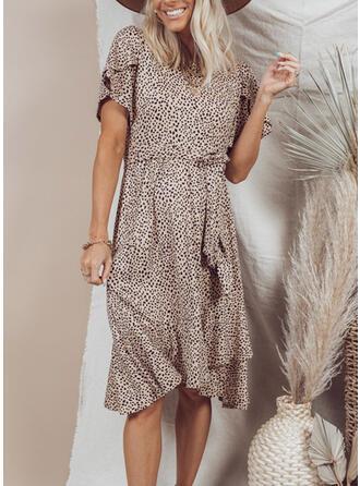 Floral Short Sleeves Ruffle Sleeve Shift Vacation Midi Dresses