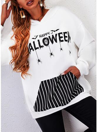 Halloween Print Striped Letter Long Sleeves Hoodie