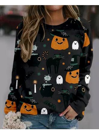 Halloween Print Round Neck Long Sleeves Sweatshirt