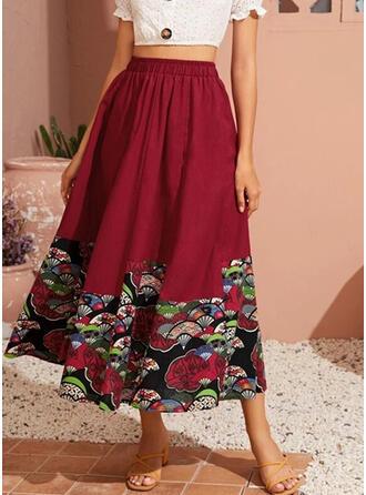 Cotton Print Mid-Calf A-Line Skirts
