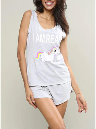 Round Neck Sleeveless Print Casual Top & Short Sets Night Dress