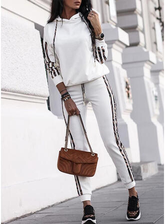 Striped Print Casual Sporty Drawstring Two-Piece Outfits