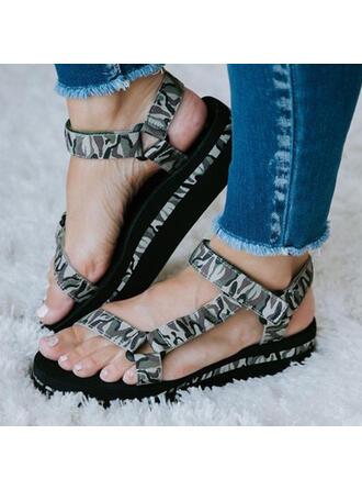 Femmes Flying Weave Talon plat Sandales Chaussures plates À bout ouvert avec Ouvertes Velcro chaussures