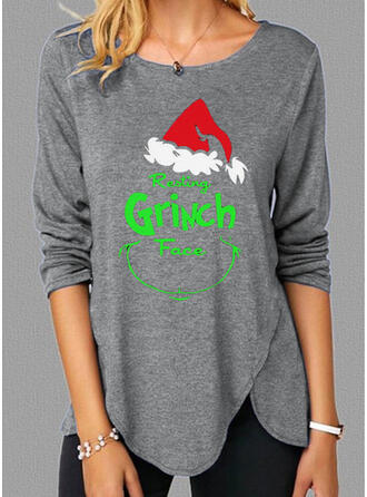 Christmas Print Letter Round Neck Long Sleeves T-shirts