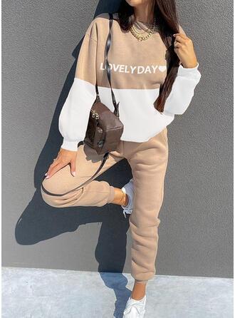 Heart Letter Print Color Block Casual Plus Size Sweatshirts & Two-Piece Outfits Set