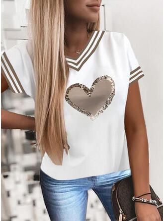 Cœur Imprimé Paillettes Rayures Col V Manches Courtes T-shirts