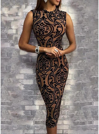 Impresión Sin mangas Ajustado Hasta la Rodilla Elegante Vestidos