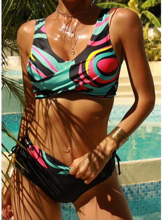 High Waist Print Strap V-Neck Boho Bikinis Swimsuits