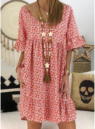 Impresión/Floral/Escotado por detrás Mangas 1/2 Tendencia Hasta la Rodilla Casual Vestidos