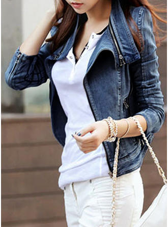 Denim Long Sleeves Plain Denim Coats